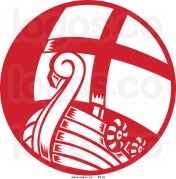 royalty-free-vector-of-a-red-and-white-viking-boat-logo-by-patrimonio-4912